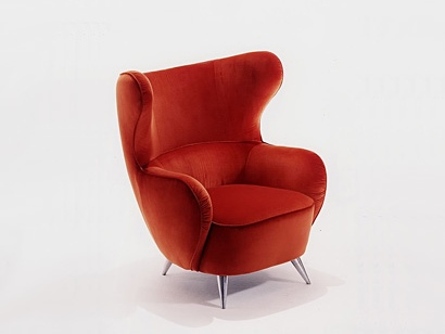 Beautiful winged chair cozy red