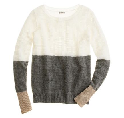 JCrew Cashmere Waffle Colorblock Sweater Gray Flax Snow