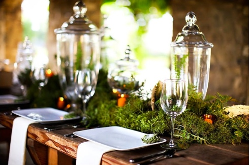 Eco tablescape moss green grass rustic
