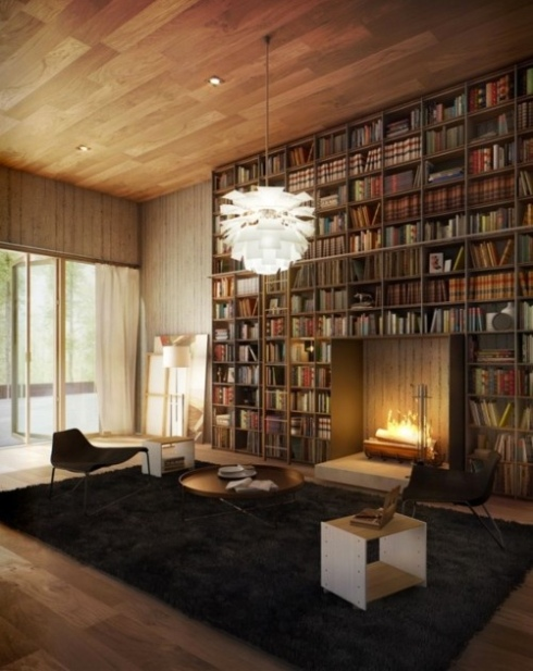 Library floor to ceiling bookcase fireplace cozy