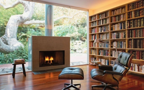 Library home reading room fireplace