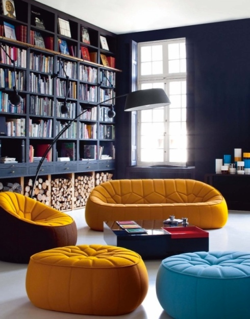 Home library dark walls bright colors