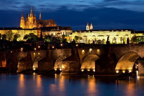 Prague the city by night