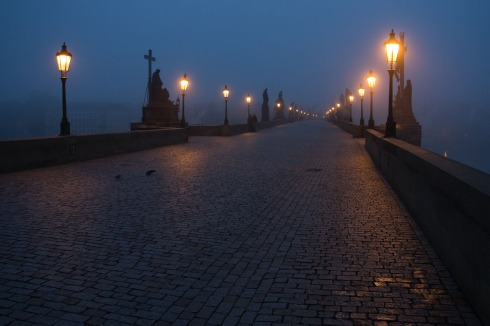 Prague Charles Bridge by night