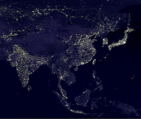 city lights space Earth North America Europe Asia