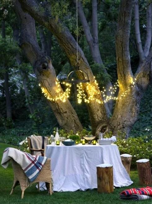 al fresco dining outside tree lights decor nature